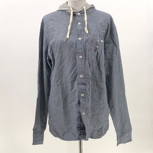 Levi's shirt button up hooded chambray size L